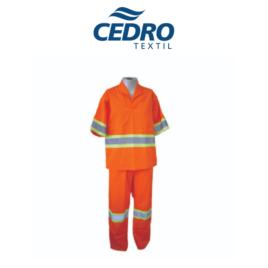 Conjunto c/ Refletivo Calça e Jaleco Manga Curta Tecido Profissional Cedro – COR LARANJA