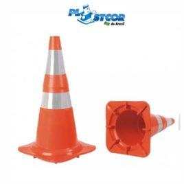Cone Flexivel Laranja 75cm ou 50cm  com Refletivo – Plastcor