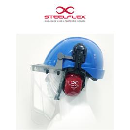 Capacete Conjugado com Protetor Facial e Abafador Steelflex Turtle