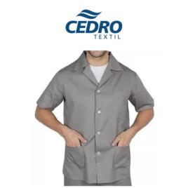 Jaleco c/ botão 3/4 Brim Profissional tecido cedro leve – Cinza