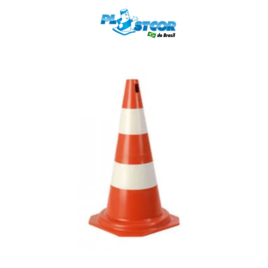 CONE RÍGIDO DE PVC 50cm – LARANJA/BRANCO