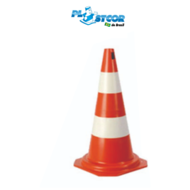 CONE RÍGIDO DE PVC 75cm – LARANJA/BRANCO