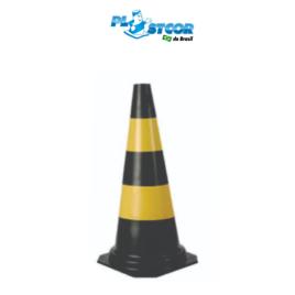 CONE RÍGIDO DE PVC 75cm – PRETO/AMARELO