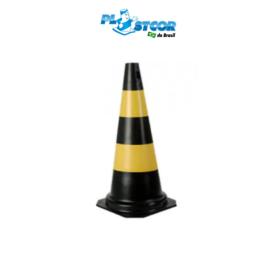 CONE RÍGIDO DE PVC 50cm – PRETO/AMARELO