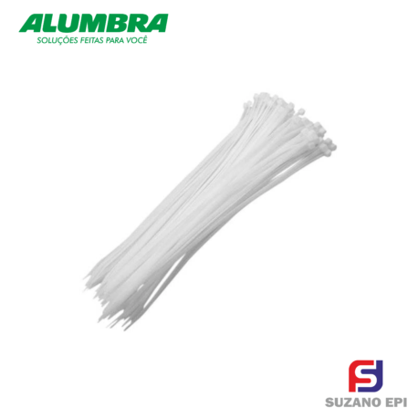 abracadeira de nylon branca 2,5x100mm alumbra